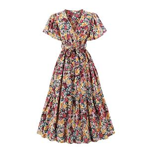 Cute Printed A-line Swing Dress, Retro Printed Dresses for Women 1960, Vintage Floral Printed Dresses 1950