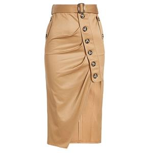 Vintage Khaki Skirt, Mid-Calf Skirt for Women, Khaki Pencil Skirt, High Waist Asymmetrical Skirt, Khaki Casual Skirt, Irregular Pencil Skirt, #N15691