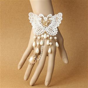 Vintage Lace Bracelet, Gothic Butterfly Bracelet, Cheap Wristband, Gothic White Lace Bracelet, Victorian Floral Lace Bracelet, Retro White Floral Lace Wristband, Bracelet with Ring, #J18169