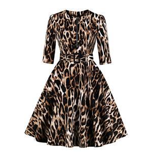 Vintage Leopard Print Front Zipper Round Neck Half Sleeve High Waist Dress with Belt N18670