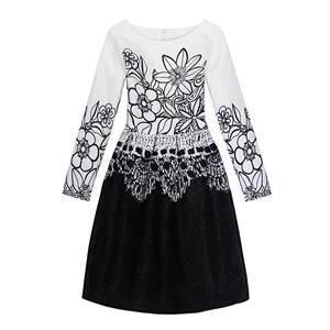 Rose Print Dress, Long Sleeve Dress, Round Collar Dress, Girls Lovely Dress, Vintage Dresses for Girls, Girls Swing Dress, Back Zipper Dress, A-Line Dress, #N15528