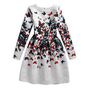 Rose Print Dress, Long Sleeve Dress, Round Collar Dress, Girls Lovely Dress, Vintage Dresses for Girls, Girls Swing Dress, Back Zipper Dress, A-Line Dress, #N15498