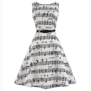 Vintage Dresses for Girls, Floral Print Dress, Sleeveless Dress, Round Collar Dress, Back Zipper Dress, Retro Dresses for Girls, Swing Dress, #N15483