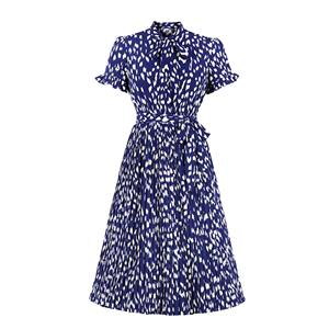 Bow-knot Tie Collar Party Dresses, Cute Summer Swing Dress, Retro  Print Dresses for Women 1960, Vintage Dresses 1950