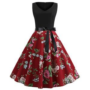 Sexy Peony Print A-line Swing Dress, Retro Peony Flower Print Dresses for Women 1960, Vintage Dresses 1950