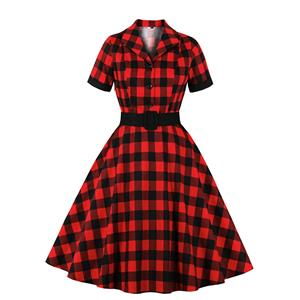 Red and Black Plaid Pattern Dress, Vintage Dresses for Women, Sexy Dresses for Women Cocktail Party, Vintage High Waist Dress, Short Sleeves Swing Daily Dress, Vintage Plaid Printed Swing Dress, #N20926