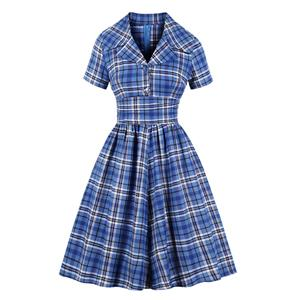 French Maiden high Waist Dresses, Cute Summer Swing Dress, Retro Checkered Dresses for Women 1960, Vintage Lapel Dresses 1950