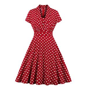 Vintage Red Polka Dots Lapel Short Sleeve Slim Waist A-line Swing Midi Dress N19806