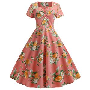 Cute Summertime Floral Printed A-line Swing Dress, Retro Dresses for Women 1960, Vintage Dresses 1950