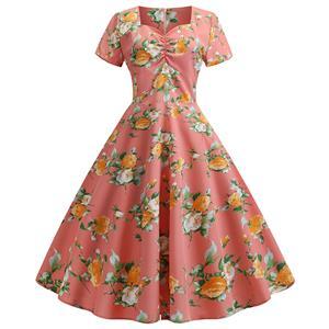 Cute Summertime Floral Printed A-line Swing Dress, Retro Dresses for Women 1960, Vintage Dresses 1950