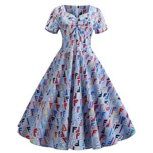 Cute Summertime Printed A-line Swing Dress, Retro Dresses for Women 1960, Vintage Dresses 1950