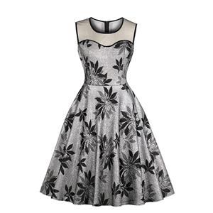 Elegant Silver Floral Pattern See-through Bodice Sleeveless High Waist A-line Dress N18865
