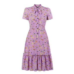 Bow-knot Tie Collar Party Dresses, Cute Summer Swing Dress, Retro Floral Print Dresses for Women 1960, Vintage Dresses 1950