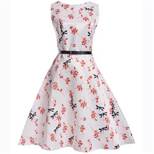 Vintage Dresses for Girls, Floral Print Dress, Sleeveless Dress, Round Collar Dress, Back Zipper Dress, Retro Dresses for Girls, Swing Dress, #N15475