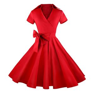 Vintage Red Short Sleeves Swing Rockabilly Ball Party Casual Dress N11089