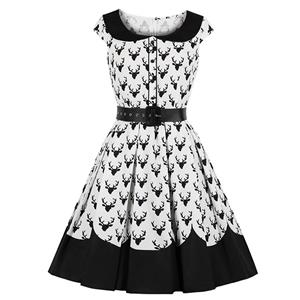 Retro Black and White Dress, Gothic Dresses for Women, Cocktail Party Dress, Elegant Party Dress, Vintage Lapel Short Sleeves Swing Dresses, A-line Cocktail Party Swing Dresses, Round Neck Vintage Day Dress, #N18647