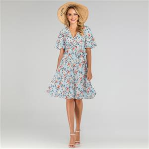 Cute Summer Swing Dress, Retro OL Dresses for Women 1960, Vintage Floral Printed Dresses 1950