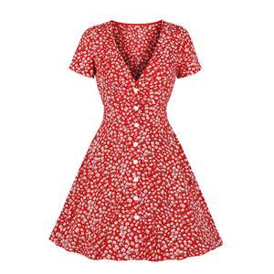 Vintage Rockabilly Floral Printed V Neckline Front Button Short Sleeve Swing Dress N19085