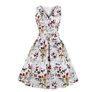 Vintage Floral Printed V Neck High-waisted Sleeveless Cocktail Midi Dress with Belt N19087