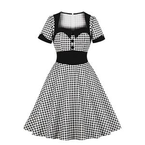 Vintage Black and White Check Lapel Short Sleeve High Waist A-line Midi Dress N19142