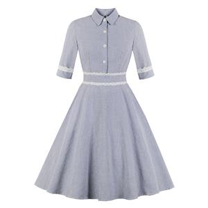 Elegant Pinstripe Turndown Lace Trim Half Sleeve Front Button A-line Day Dress N19242