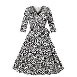 Elegant Swing Dress, Retro Zebra Print Dresses for Women 1960, Vintage Dresses 1950