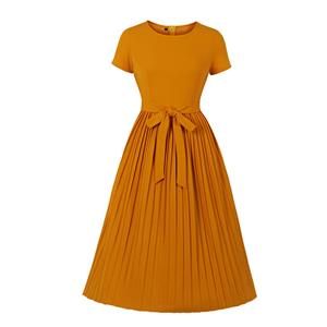 Elegant Solid Color Round Neck Front Tie-up Pleated Dress N20008