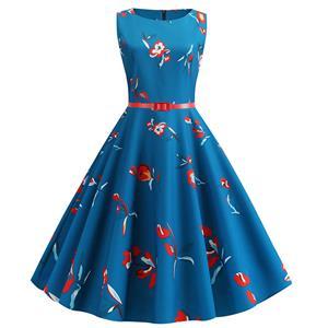 Vintage Dresses for Women, Cocktail Party Dress, Vintage Sleeveless Tank Dresses, A-line Cocktail Party Swing Dresses, Floral Print Vintage Dress, Round Neck Vintage Day Dress, #N20287