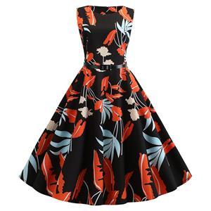 Vintage Dresses for Women, Cocktail Party Dress, Vintage Sleeveless Tank Dresses, A-line Cocktail Party Swing Dresses, Floral Print Vintage Dress, Round Neck Vintage Day Dress, #N20289