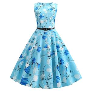 Vintage Dresses for Women, Cocktail Party Dress, Vintage Sleeveless Tank Dresses, A-line Cocktail Party Swing Dresses, Floral Print Vintage Dress, Round Neck Vintage Day Dress, #N20290