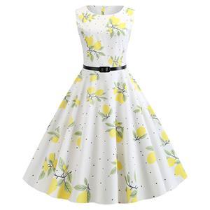 Vintage Dresses for Women, Cocktail Party Dress, Vintage Sleeveless Tank Dresses, A-line Cocktail Party Swing Dresses, Floral Print Vintage Dress, Round Neck Vintage Day Dress, #N20291