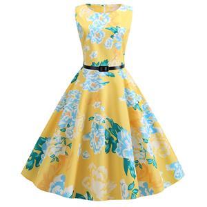 Vintage Dresses for Women, Cocktail Party Dress, Vintage Sleeveless Tank Dresses, A-line Cocktail Party Swing Dresses, Floral Print Vintage Dress, Round Neck Vintage Day Dress, #N20293
