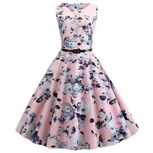 Vintage Dresses for Women, Cocktail Party Dress, Vintage Sleeveless Tank Dresses, A-line Cocktail Party Swing Dresses, Floral Print Vintage Dress, Round Neck Vintage Day Dress, #N20295