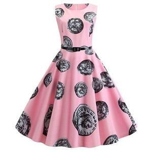 Vintage Dresses for Women, Cocktail Party Dress, Vintage Sleeveless Tank Dresses, A-line Cocktail Party Swing Dresses, Currency Pattern Vintage Dress, Round Neck Vintage Day Dress, #N20297