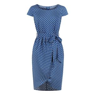 Vintage Royal Blue Polka Dots Round Neck High Waist Midi Tube Dress N18696