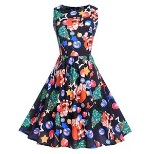 Vintage Dress for Women Black, Christmas Dresses for Women Cocktail Party, Casual Swing Dress, Sleeveless Swing Dress, Christmas Reindeer Print Dress, Christmas Party Dress, #N18282