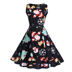 Vintage Dress for Women Black, Christmas Dresses for Women Cocktail Party, Casual Swing Dress, Sleeveless Swing Dress, Christmas Reindeer Print Dress, Christmas Party Dress, #N18281