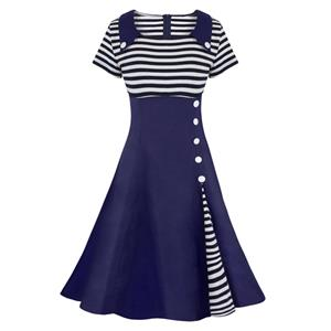 Retro Dresses for Women, Vintage Splicing Swing Dresses, Vintage Dress for Women, Picnic Dress, Party Cocktail Dress, Cheap Party Dress, #N14444