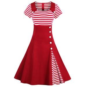 Retro Dresses for Women, Vintage Splicing Swing Dresses, Vintage Dress for Women, Picnic Dress, Party Cocktail Dress, Cheap Party Dress, #N14445