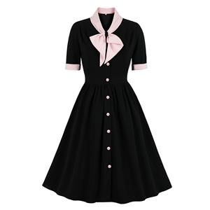 Vintage V Neck Bow Tie Front Button Short Sleeve Splicing Party Big Swing Dress N21356