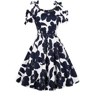 Retro Dresses for Women, Fashion Vintage Short Sleeve Dresses, Vintage Dress for Women, Square Neck Pinup Vintage Dress, Floral Print Cocktail Party Vintage Dress , #N17399