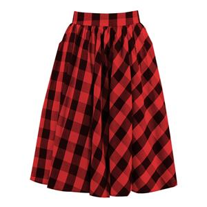 Classic Red Plaid Cotton High Waisted Vintage Flared Pleated Casual Skater Skirt N20167