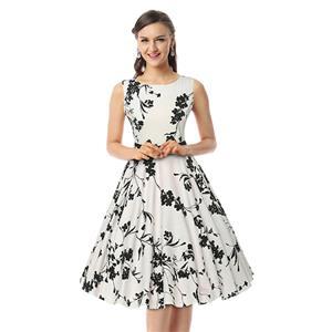 Spring Garden Party Picnic Dress, Party Cocktail Dress, Vintage Casual Retro Dress, Cotton Vintage Tea Dress, Party Swing Dress, #N11389