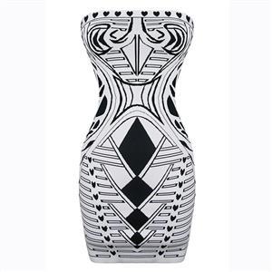 Sleeveless Bodycon Dress, Off Shoulder Dress, Black Print Dress, Vintage Bodycon Dress, Bodycon Bandage Dress, Sexy Dresses for Women, Back Zipper Dress, #N15630