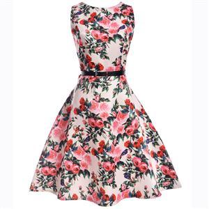Vintage Dresses for Girls, Floral Print Dress, Sleeveless Dress, Round Collar Dress, Back Zipper Dress, Retro Dresses for Girls, Swing Dress, #N15476