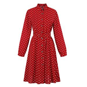 French Maiden Long Sleeve Dresses, Cute Summer Swing Dress, Retro Polka Dots Dresses for Women 1960, Vintage Turndown Collar Dresses 1950