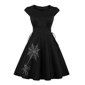 Cute Summer Swing Dress, Retro Spider Embroidery Dresses for Women 1960, Vintage Dresses 1950