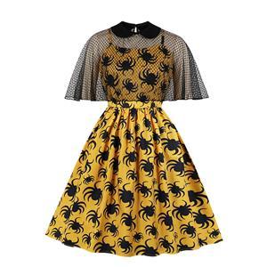 Halloween Spider Sheer Mesh Cape Dress, Fashion Sheer Mesh High Waist A-line Swing Dress, Retro Dresses for Women 1960, Vintage Dresses 1950