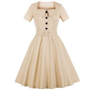 Retro Dresses for Women, Fashion Vintage Short Sleeve Dresses, Vintage Dress for Women Beige, Square Neck Pinup Vintage Dress, Cocktail Party Vintage Dress , #N17398