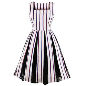 Retro Dresses for Women, Fashion Vintage Stripe Dresses, Vintage Dress for Women White, Square Neck Sleeveless Pinup Dress, Stripe Party Vintage Dress White, #N17228